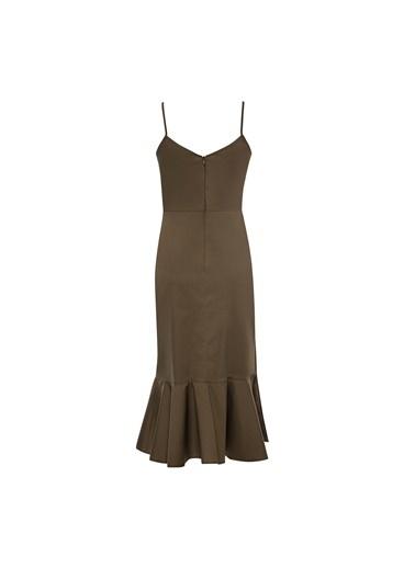Vekem-Limited Edition Asimetrik Kesim İp Askılı Elbise Haki